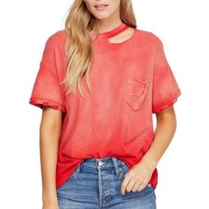 FREE PEOPLE WE THE FREE LUCKY TEE IN COSMIC RED